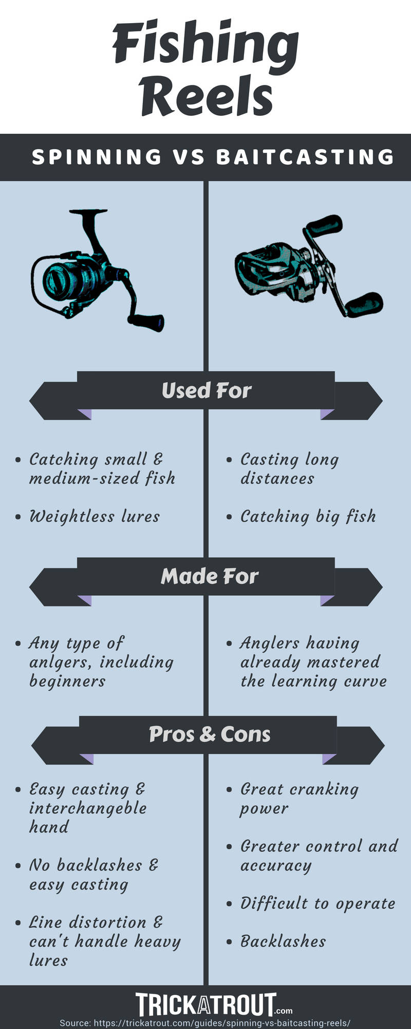 Fishing Reels - Spinning vs Baitcasting Infographic